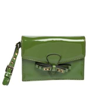 Valentino Green Patent Leather Rockstud Bow Wristlet Clutch