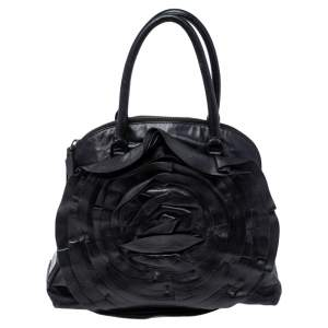 Valentino Black Leather Petale Rose Dome Satchel