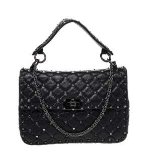 Valentino Black  Quilted Leather Rockstud Spike Shoulder Bag