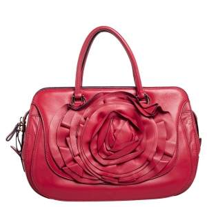 Valentino Red Leather Petale Convertible Satchel