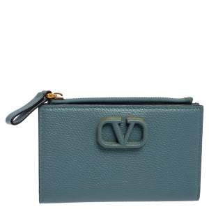 Valentino Blue Leather VLogo Bifold Wallet