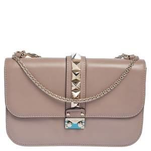 Valentino Nude Leather Medium Rockstud Glam Lock Flap Bag