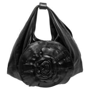 Valentino Black Leather Petale Rose Hobo Bag