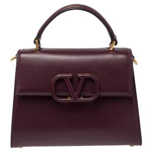Valentino Burgundy Leather Small VSLING Top Handle Bag