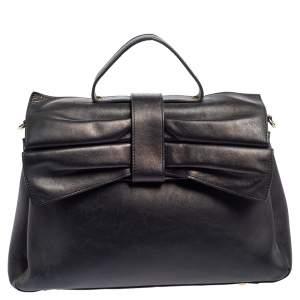 Valentino Black Leather Bow Satchel