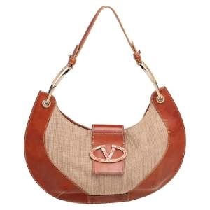 Valentino Beige/Tan Leather and Straw Catch Hobo