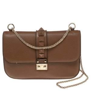 Valentino Brown Leather Medium Rockstud Glam Lock Flap Bag