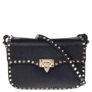 Valentino Blue Grain Leather Medium Rockstud Flap Shoulder Bag