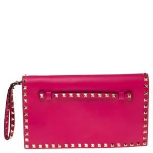 Valentino Fuchsia Leather Rockstud Wristlet Clutch