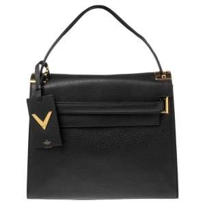 Valentino Black Leather Medium My Rockstud Top Handle Bag