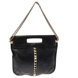 Valentino Black Leather Rockstud Fold Over Shoulder Bag