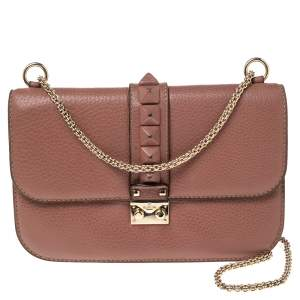 Valentino Old Rose Leather Medium Rockstud Glam Lock Flap Bag