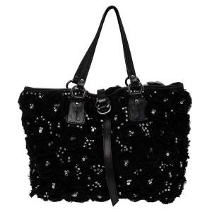 Valentino Black Satin and Leather Crystal Embellished Rosier Tote