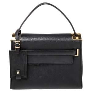 Valentino Black Leather My Rockstud Top Handle Bag