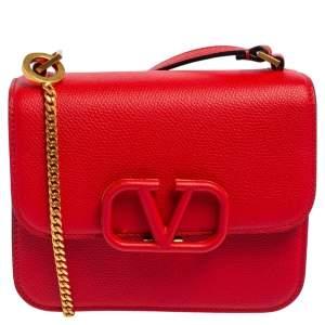 Valentino Red Grain Leather VSling Shoulder Bag
