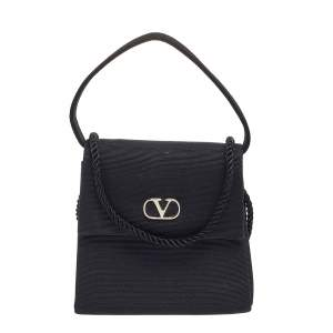 Valentino Black Fabric Flap Shoulder Bag