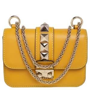 Valentino Yellow Leather Mini Glam Lock Flap Shoulder Bag