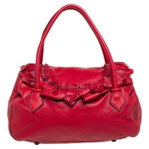Valentino Red Leather Petal Quilted Flap Satchel