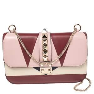 Valentino Multicolor Leather Medium Rockstud Glam Lock Flap Bag