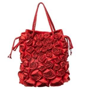 Valentino Red Leather Petals Applique Tote