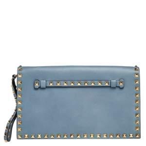 Valentino Pale Blue Leather Rockstud Wristlet Clutch