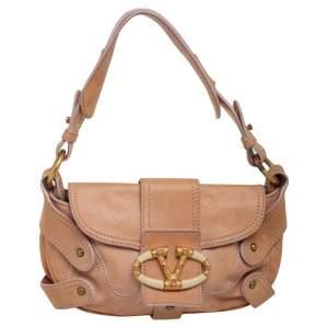 Valentino Beige Leather V Logo Shoulder Bag