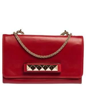 Valentino Red Leather Rockstud Va Va Voom Chain Clutch