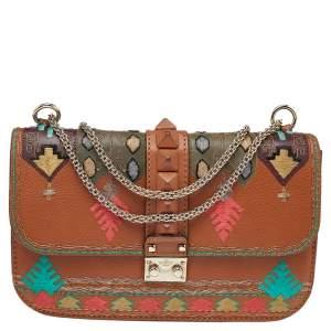 Valentino Brown Leather Glam Lock Shoulder Bag