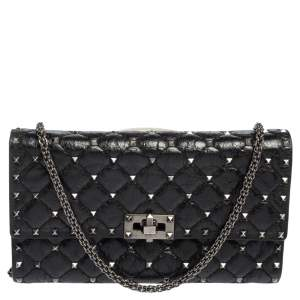 Valentino Black Quilted Crinkled Leather Rockstud Spike Chain Clutch
