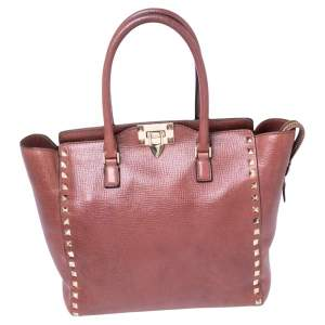 Valentino Rosewood Pink Textured Leather Rockstud Trapeze Tote