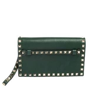 Valentino Green Leather Rockstud Wristlet Clutch