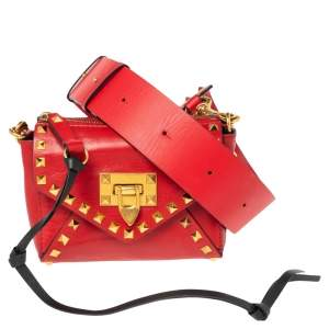 Valentino Rouge Pur Smooth Leather Small Rockstud Hype Shoulder Bag
