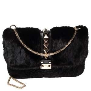 Valentino Black Mink Fur and Leather Medium Rockstud Glam Lock Flap Bag