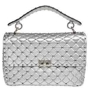 Valentino Silver Leather Large Rockstud Spike Top Handle Bag