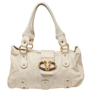 Valentino Beige Leather VLogo Flap Shoulder Bag