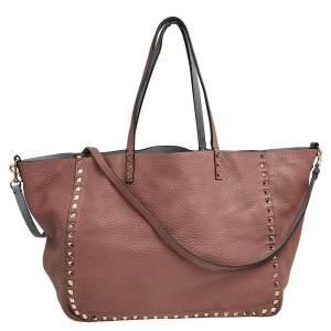 Valentino Old Rose Pebbled Leather Rockstud Medium Reversible Shopper Tote