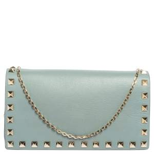 Valentino Pale Green Leather Rockstud Chain Clutch