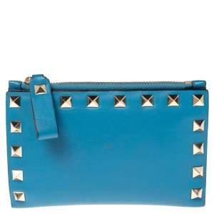 Valentino Blue Leather Rockstud Bifold Card Wallet