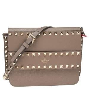 Valentino Beige Leather Rockstud Flap Shoulder Bag