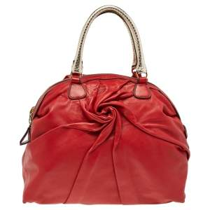 Valnetino Red/Gold Python And Leather Pleated Dome Satchel