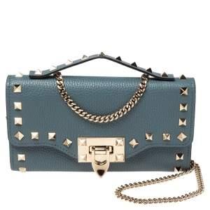Valentino Blue Leather Rockstud Flip Lock Wallet on Chain