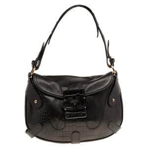 Valentino Black Leather And Croc Embossed Leather Catch Hobo