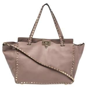 Valentino Pale Pink Leather Medium Rockstud Tote