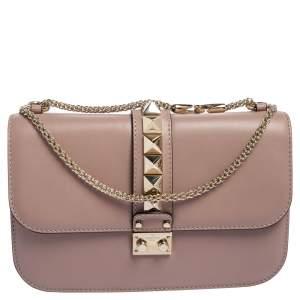 Valentino Dusty Pink Leather Medium Rockstud Glam Lock Flap Bag