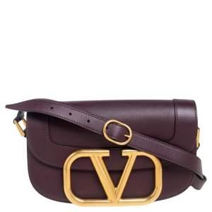 Valentino Burgundy Leather VLogo Supervee Crossbody Bag