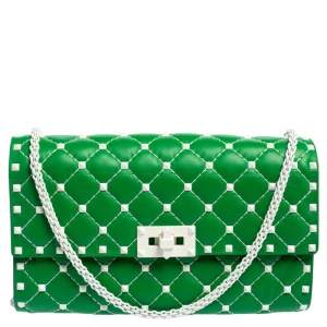 Valentino Green Quilted Leather Rockstud Spike Chain Clutch