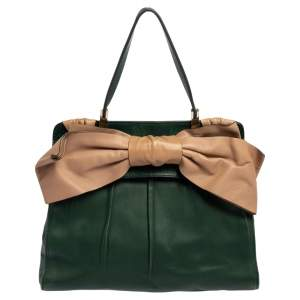 Valentino Green/Beige Leather Aphrodite Bow Bag
