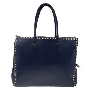 Valentino Navy Blue Leather Rockstud Tote