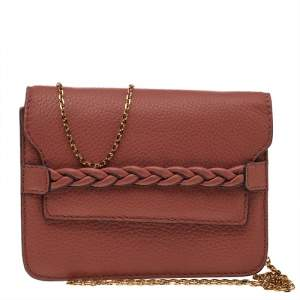 Valentino Brown Leather Chain Shoulder Bag