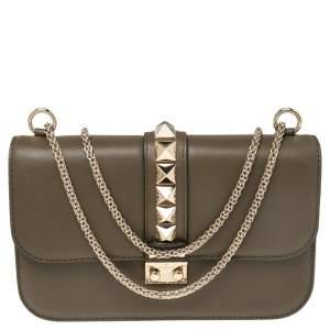 Valentino Khaki Green Leather Rockstud Medium Glam Lock Flap Bag